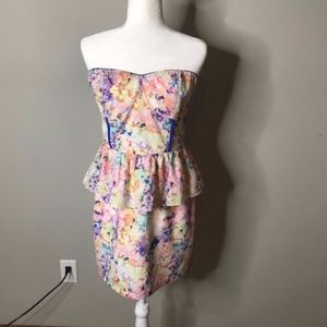 Sugarlips Watercolor Floral Strapless Peplum Dress